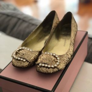 Juicy Couture gold bling glitter flats 7.5 used
